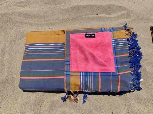 Sunkit Kikoy beach towel stripy blue yellow