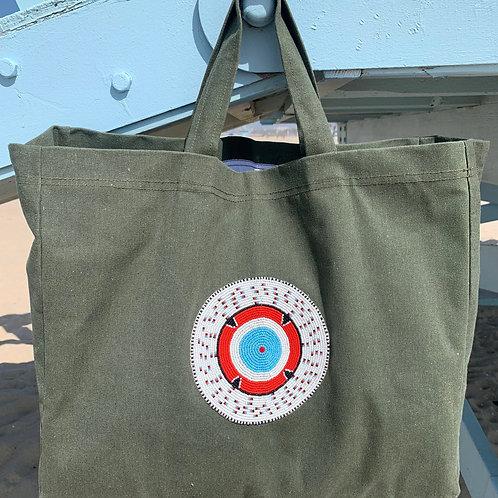 Sunkit Beach Bag khaki turquoise sun