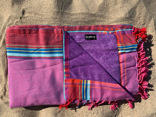 kikoy beach towel purple with a smart pocket