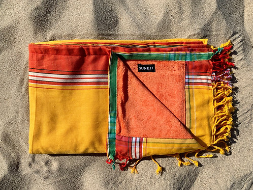 kikoy beach towel yellow with a smart pocket