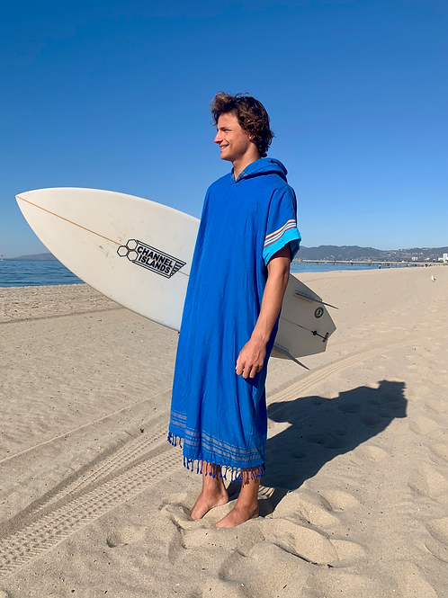 Sunkit Kikoy Surf Poncho changing blue