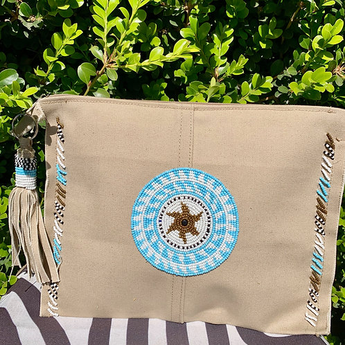Sunkit Clutch beige turquoise gold
