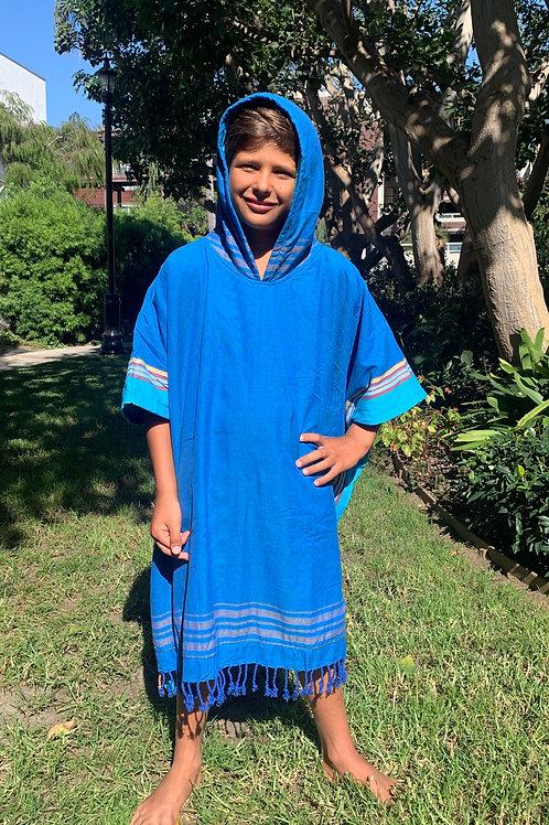 sunkit kikoy kids hooded poncho towel blue