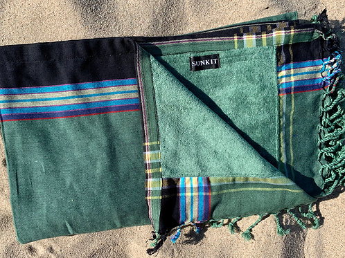 Sunkit Kikoy beach towel dark green with a smart pocket