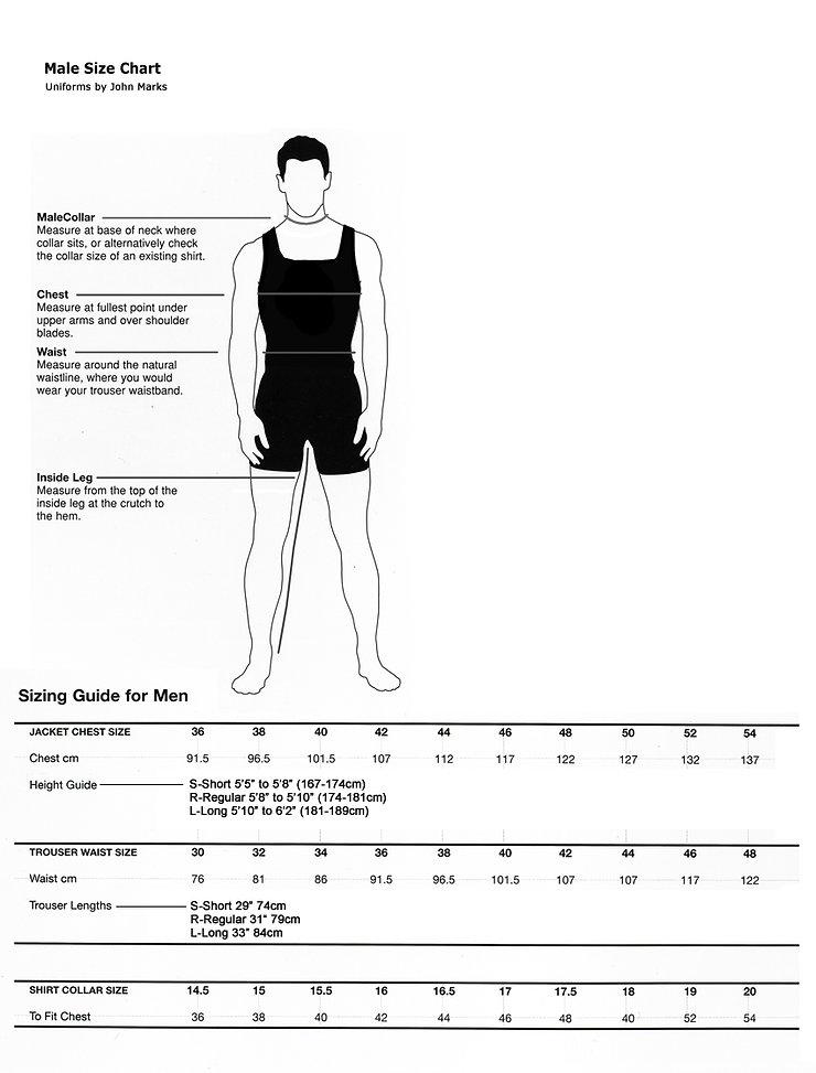 Male size chart john marks