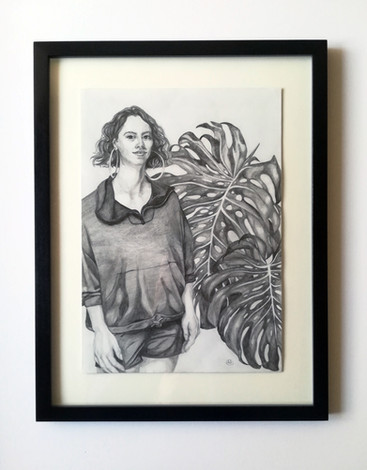 'Girl with Monstera', pencil drawing. Self-directed work, Love in the Time of Covid Exhibition, Glasgow 2020.