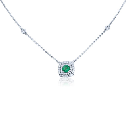 14KWG EMERALD NECKLACE 42RD DIA .33CTW/.22CT EM