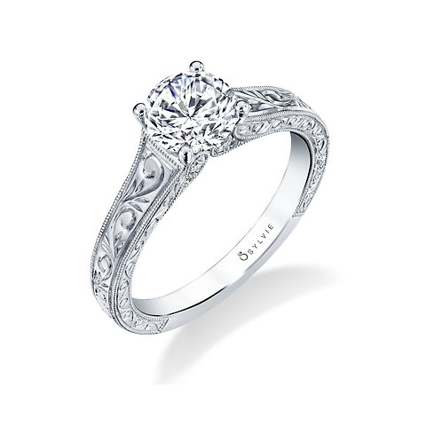 .10TW Engagement Ring W. 1CT Round Head Silver