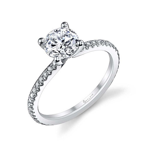.21TW Engagement Ring W 1CT Round Head 14KW