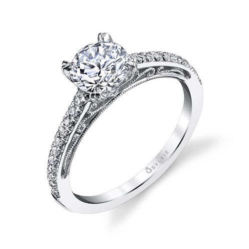 .20TW Engagement Ring W. 1CT Round Head 14KW