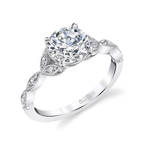 .08TW Engagement Ring W. 1CT Round 14KW