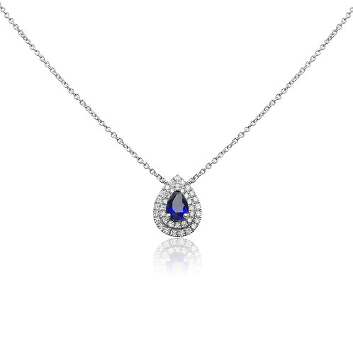 "18KWG SAPH. 16"" NECKLACE 37RD DIA .23CTW/.42CT SP"