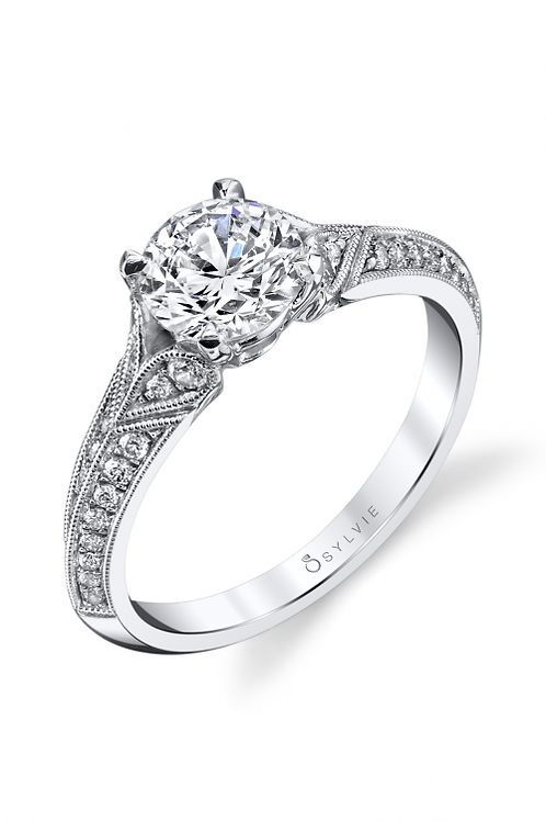 .28TW Engagement Ring W 1CT Round Head 14KW