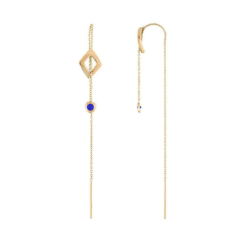 14K Lucia Threader Earrings with blue sapphires