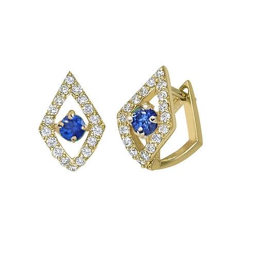 LUCIA PAVE HUGGIE EARRINGS W/BLUE SAPP 14K WG DIAMONDS - .27 CT BLUE SAPP - .26