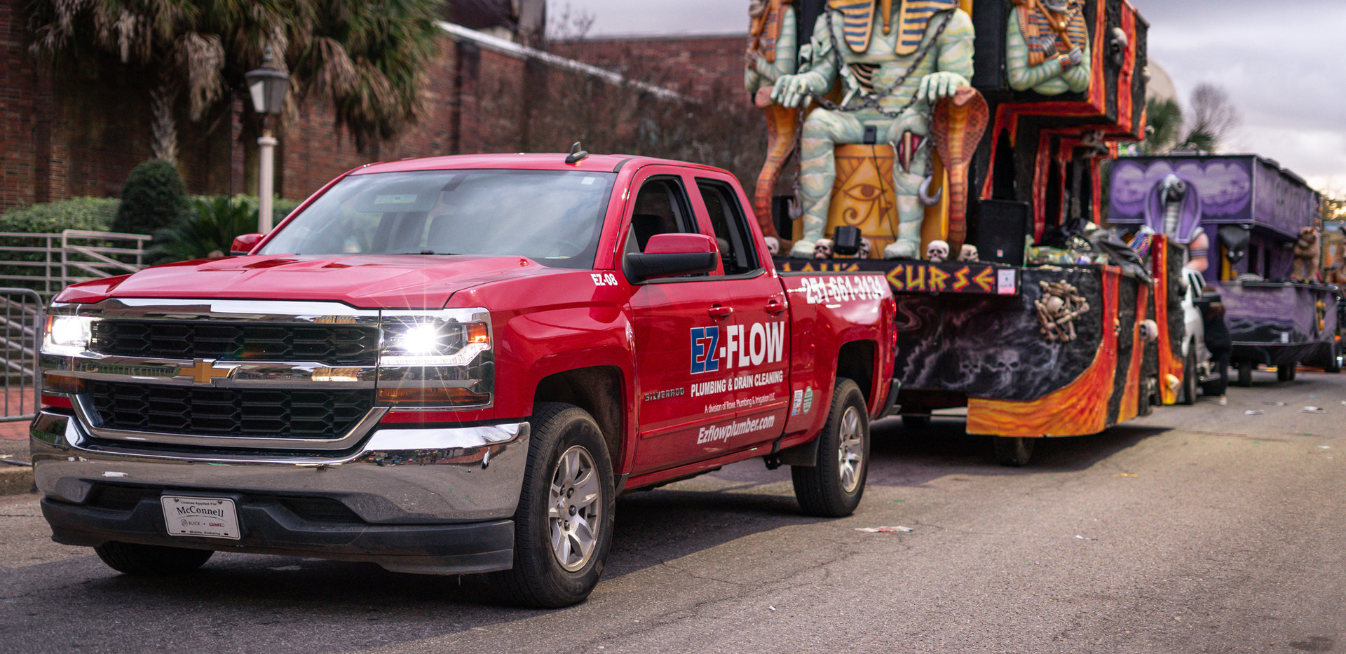EZ- Flow PLumbing & Drain Cleaning Mardi Gras Parade in Down Town Mobile Alabama