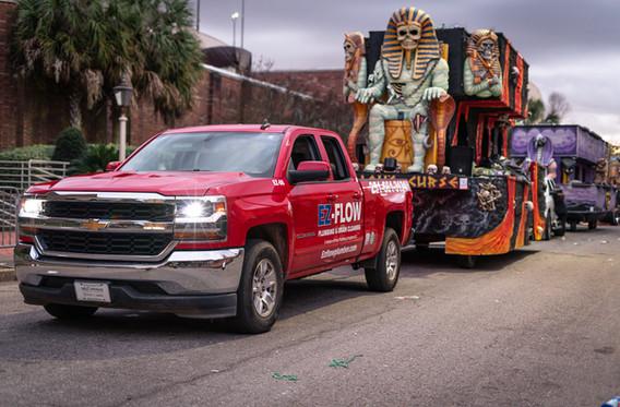 EZ- Flow PLumbing & Drain Cleaning Mardi Gras Parade in Down Town Mobile Alabama