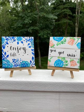 Floral quotes mini canvas