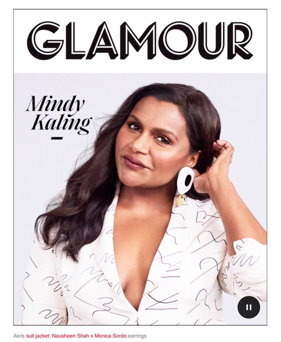 NSxMS Letty Earsculptures on COVER of Glamour June 2019 on Mindy Kaling