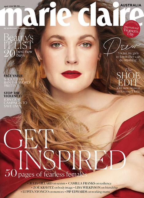 Marie Claire Australia COVER featuring Drew Barrymore on NSxMS Port Shah Earsculptures