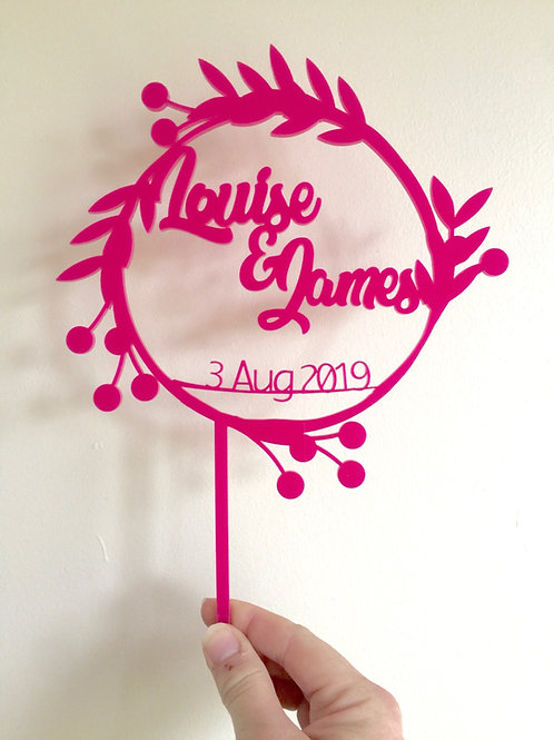 Simple Leaf & Berry Wreath with names Cake Topper