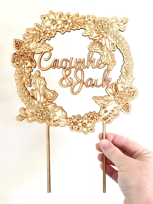 Wreath with names Cake Topper