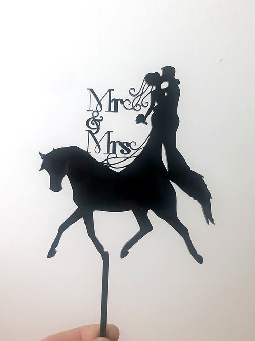 Horse with Mr & Mrs Wedding Cake Topper