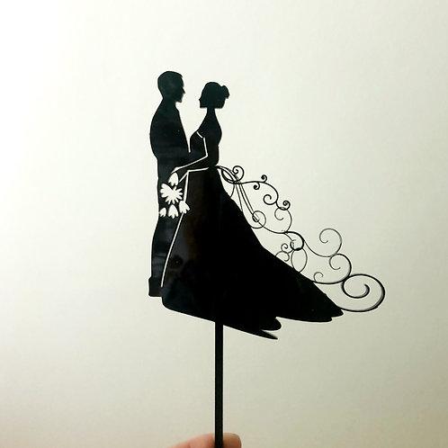 Couple Swirl Wedding Cake Topper