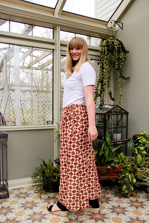 Beige with Rust Emblems Palazzo Pants