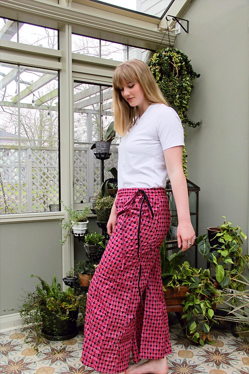 Pink with Red & Black Daggers Palazzo Pants