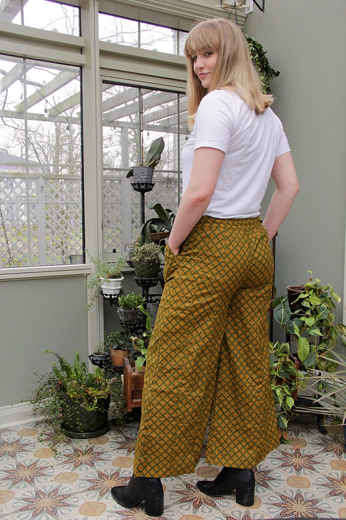 Army Green with Yellow Emblems Palazzo Pants