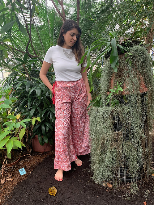 White with Red Paisley Palazzo Pants