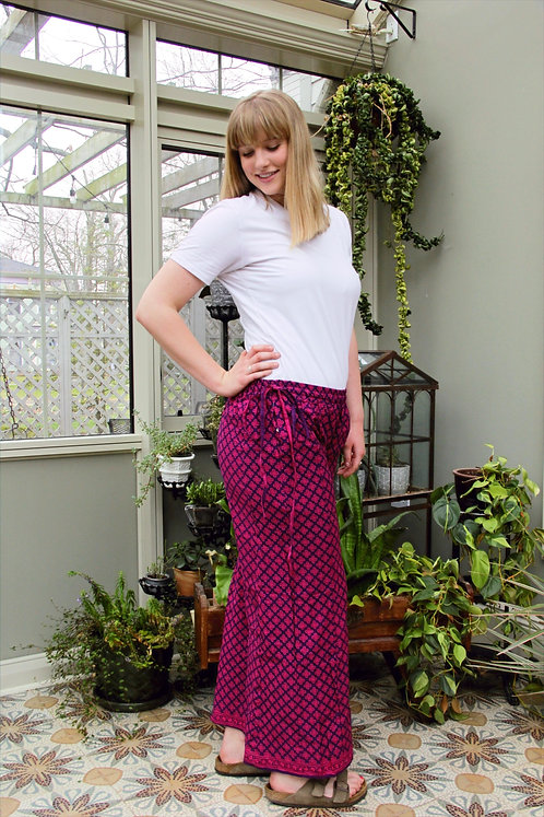 Purple with Pink Swirls Palazzo Pants