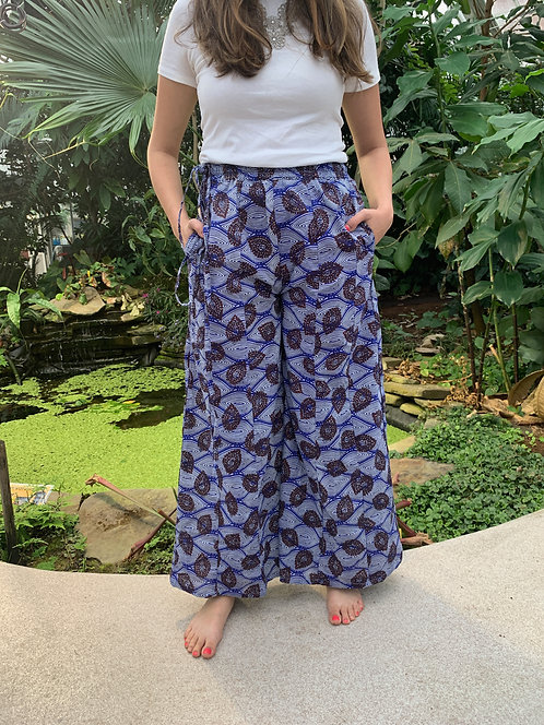 Royal Blue & White with Brown Teardrops Palazzo Pants