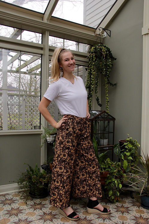 Chocolate with Cream Flowers Palazzo Pants