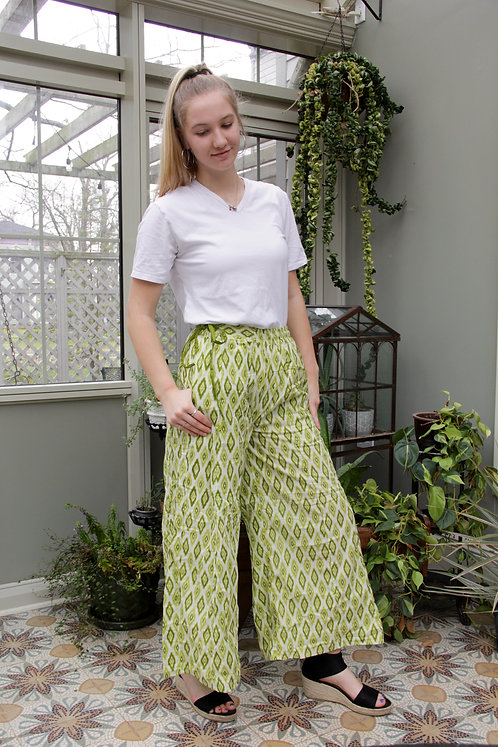 Lime Green Diamond Palazzo Pants
