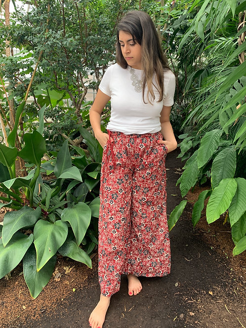 Maroon with Black & White Flowers Palazzo Pants