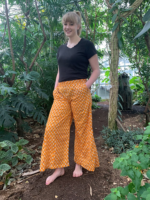 Yellow White & Brown Flowers Palazzo Pants
