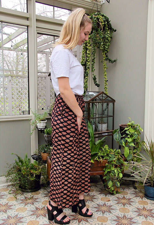 Black with Red & Cream Flowers Palazzo Pants