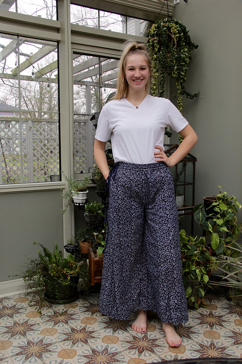Navy Blue & Light Blue Floral Palazzo Pants