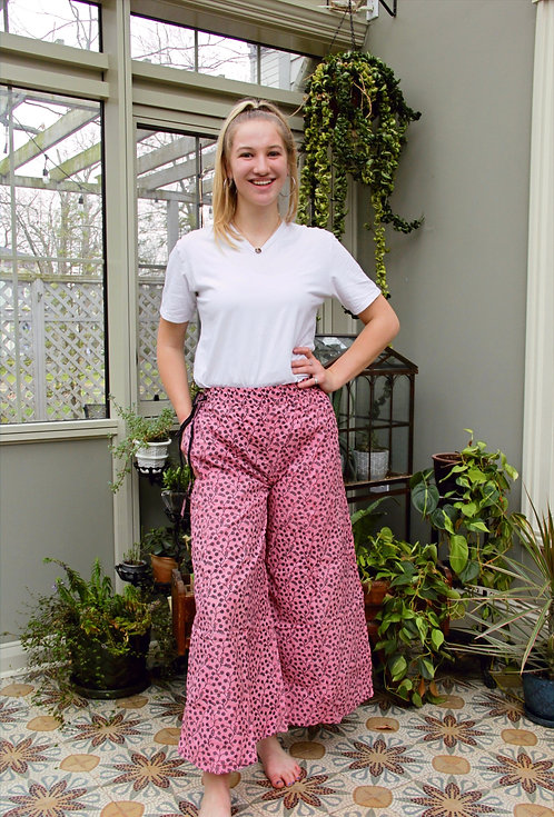 Bubble Gum Pink with Black Flowers Palazzo Pants