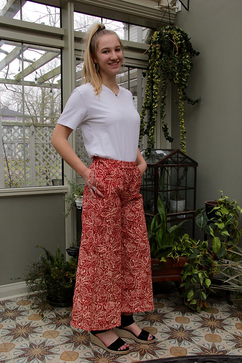 Red with White Paisley Palazzo Pants