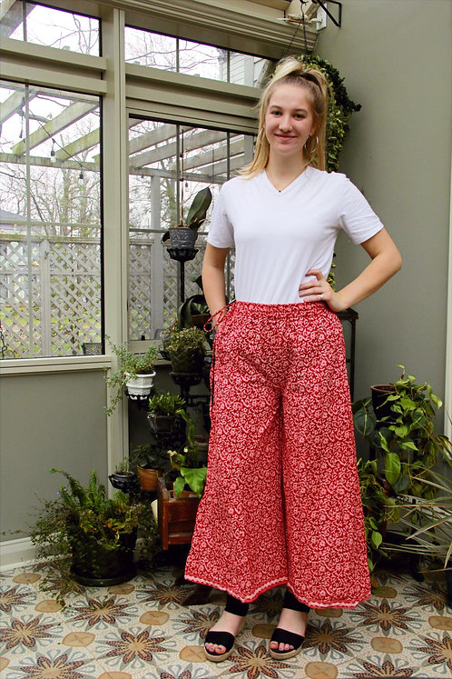 Red & Cream Floral Palazzo Pants