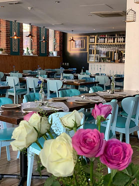 dining room with fresh flowers