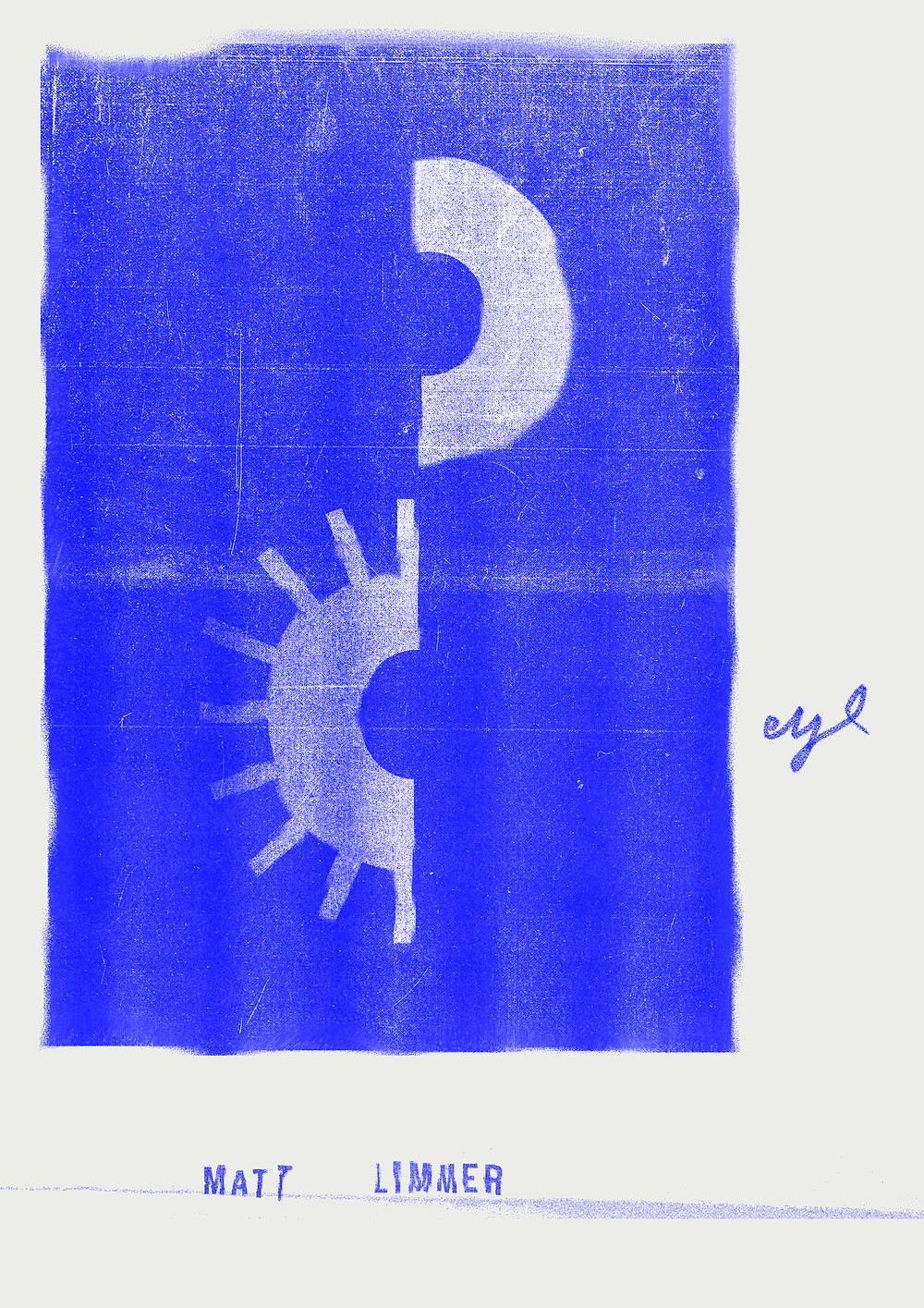 Blue poster of an illustration of an eye split in two. With text saying EYE and Matt Limmer.