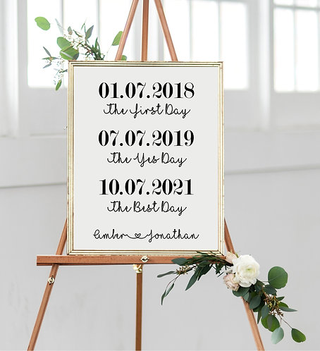 A1-The first day, yes day, best day wedding poster - BACKED