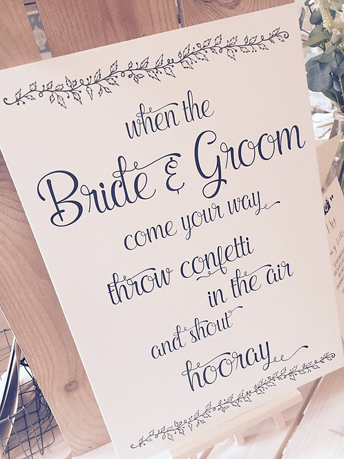 Rustic A3 'Throw Confetti' sign - UNBACKED