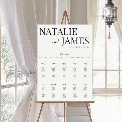 Natalie A2 Wedding Seating/Table plan
