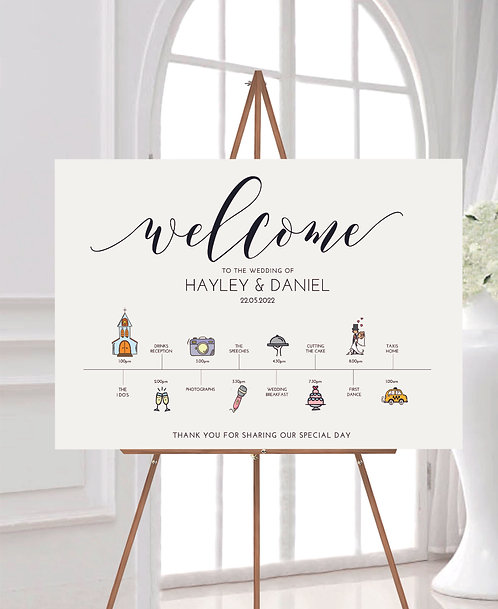 Hayley Personalised A2 Wedding Time line/Order of Day Guest information board -