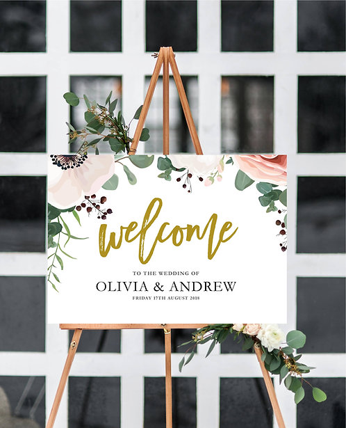 A2 landscape 'Alessia' Wedding Welcome Wedding Sign